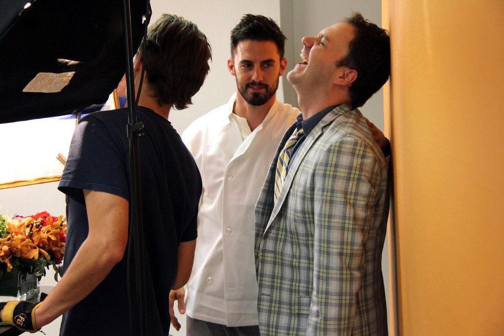 Milo Ventimiglia and Wilson Cleveland filming The Temp Life Season 5
