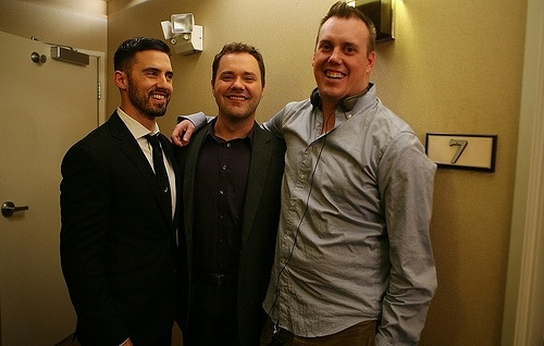 Milo Ventimiglia, WilsonCleveland, Russ Cundiff filming Suite 7