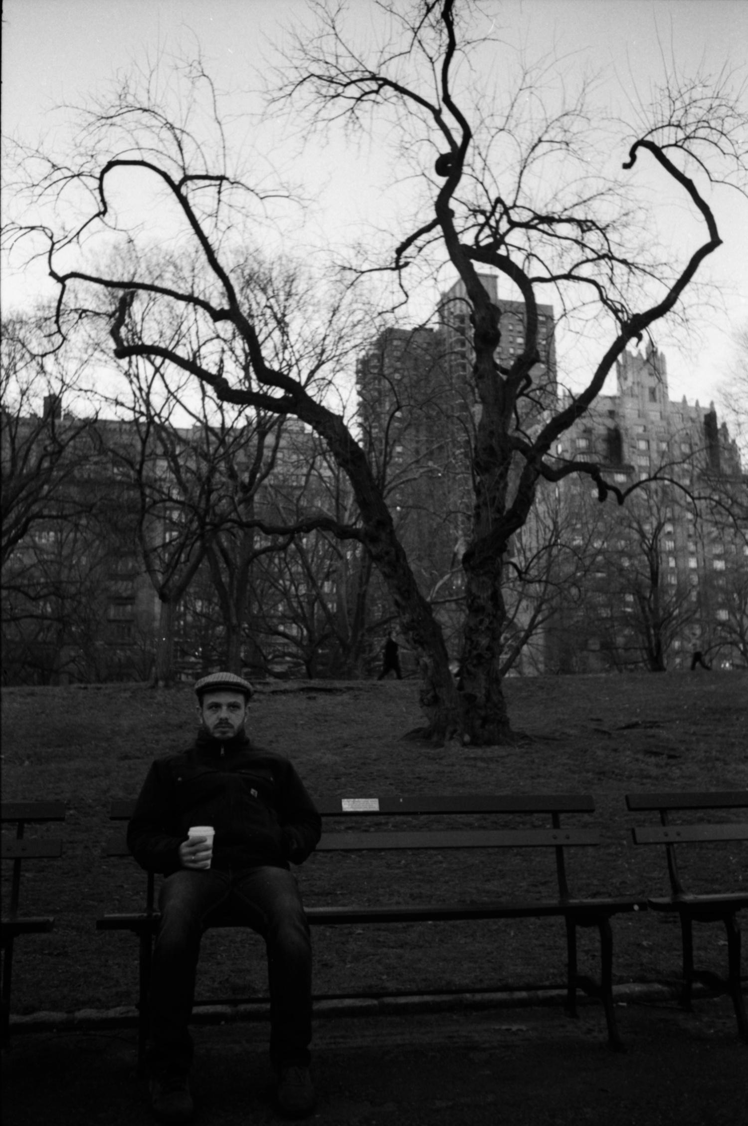 Backlog shot of Paul in Central Park