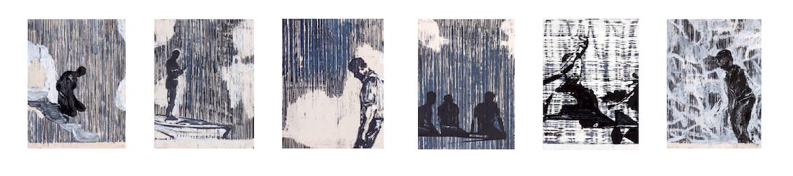 12 Resonanzboden Holzschnitt im Handabzug, Öl auf Papier, je 34 x 26 cm / 2018 Resonanzboden Holzschnitt imChristofer Kochs- Handabzüge, Öl auf Papier, je 34 x 26 cm / 2018