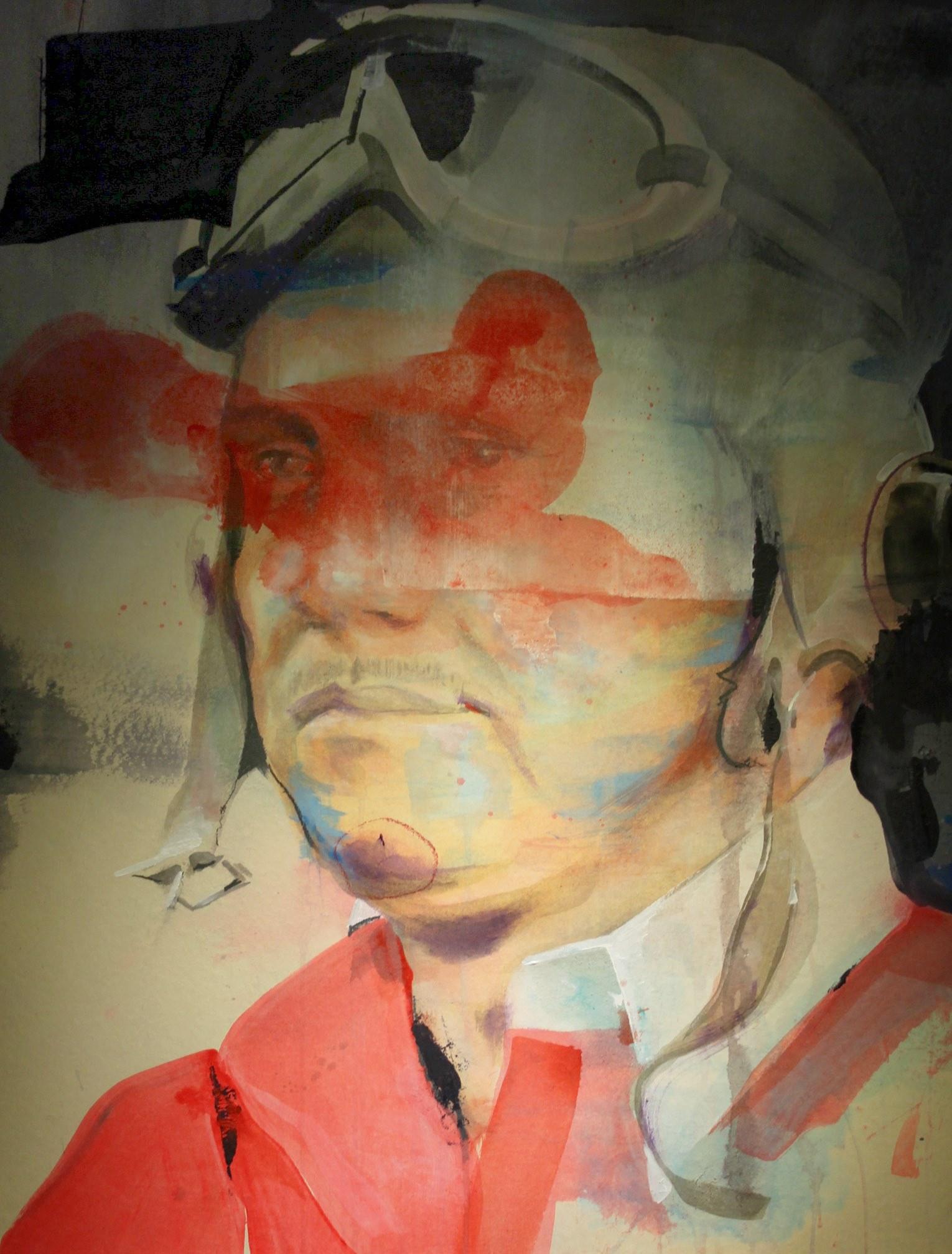 Fliegerportrait  2013, 69 x 100 cm Acryl und Kreide auf Karton  650 €