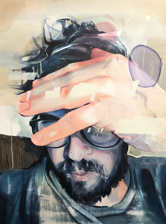 Selbstportrait  2018, 60 x 80 cm Acryl auf Leinwand  2.600 €