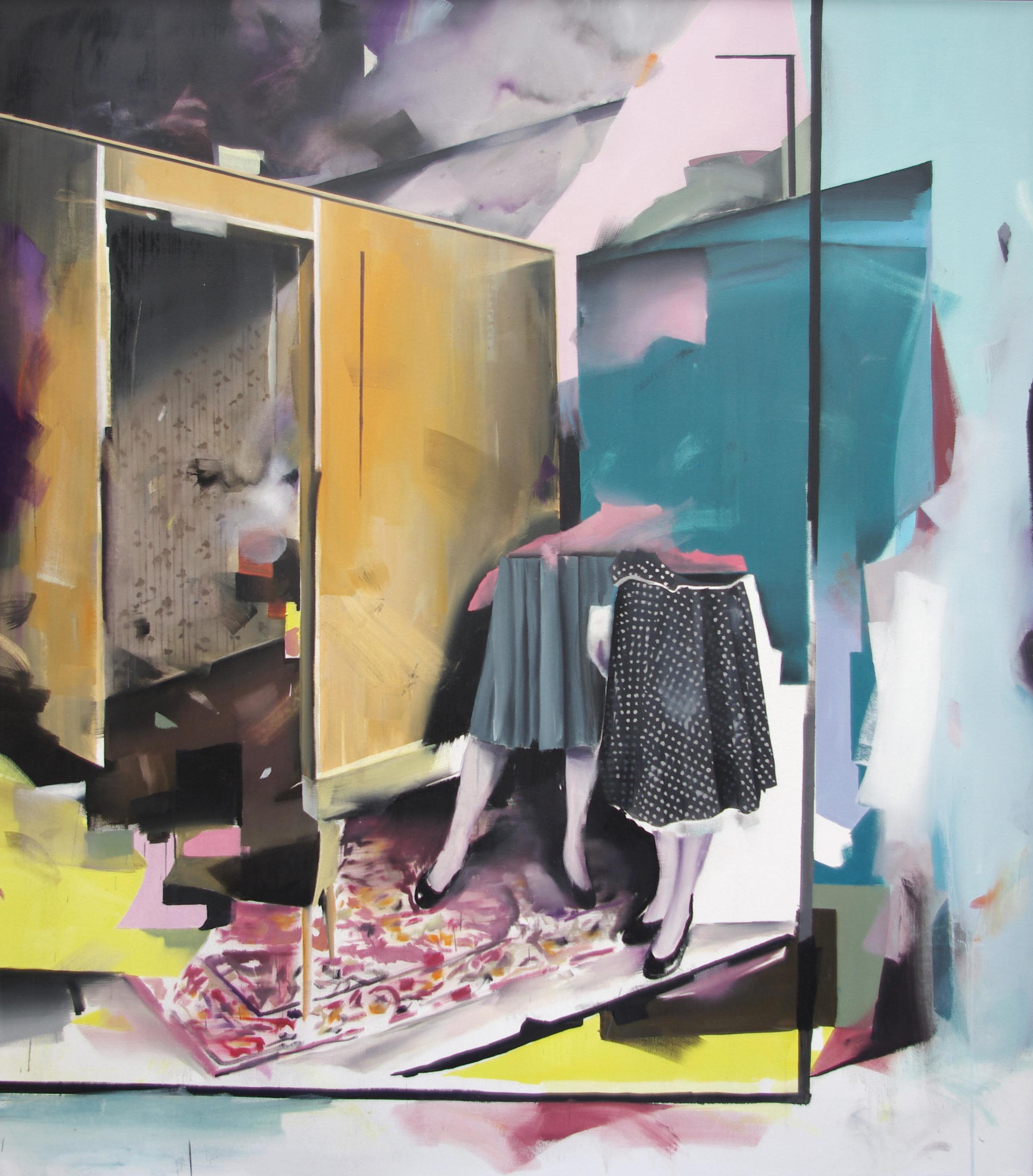 Christoph Rode, Moderne Zeiten mit hohlen Denkmälern, Öl auf Leinwand (155cm x 135cm) 2017