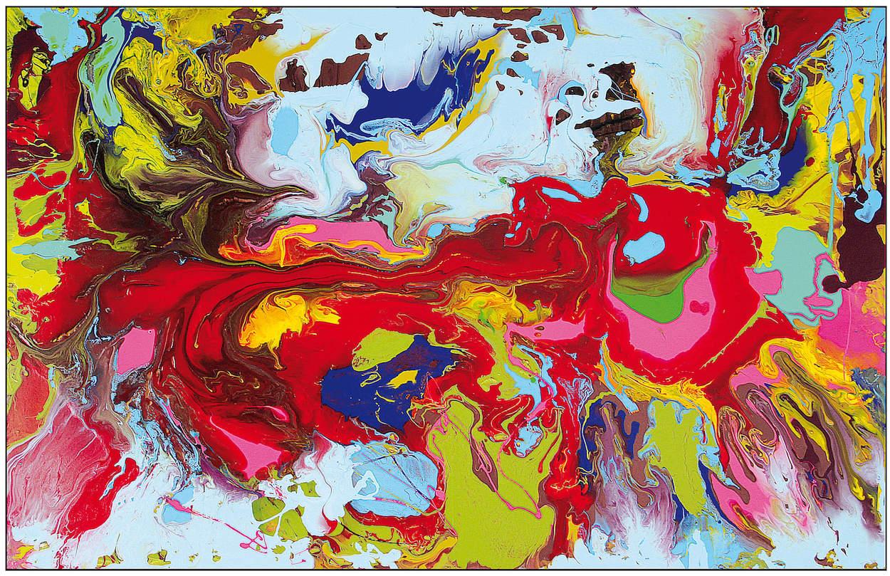 Red, Green, Blue , Wasserlack-Schüttung, 195 x 128 cm, 2018, 6.800 €