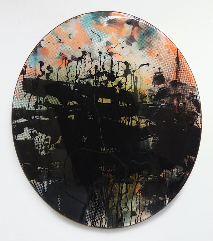 Sebastian Menzke, f, 100 x 90 cm, Öl, Acryl, Vinyl, Tusche und Epoxidharz auf Leinwand Holzstreifen-Rahmung  Bei Kaufinteresse bitte eine Nachricht senden