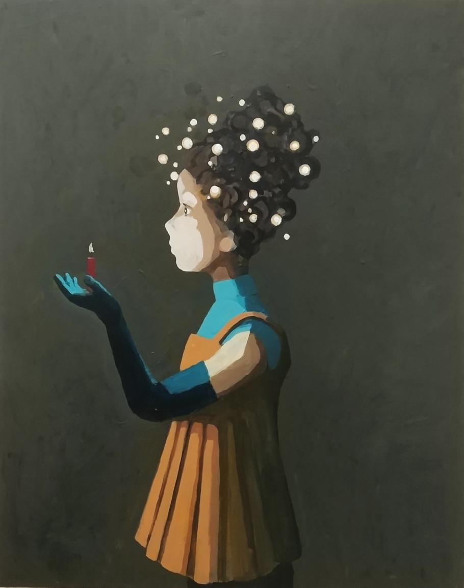 Sven Ochsenreither, two kinds of light, Acryl auf Leinwand, 100 x 80 cm, 2018  Bei Kaufinteresse bitte eine Nachricht senden