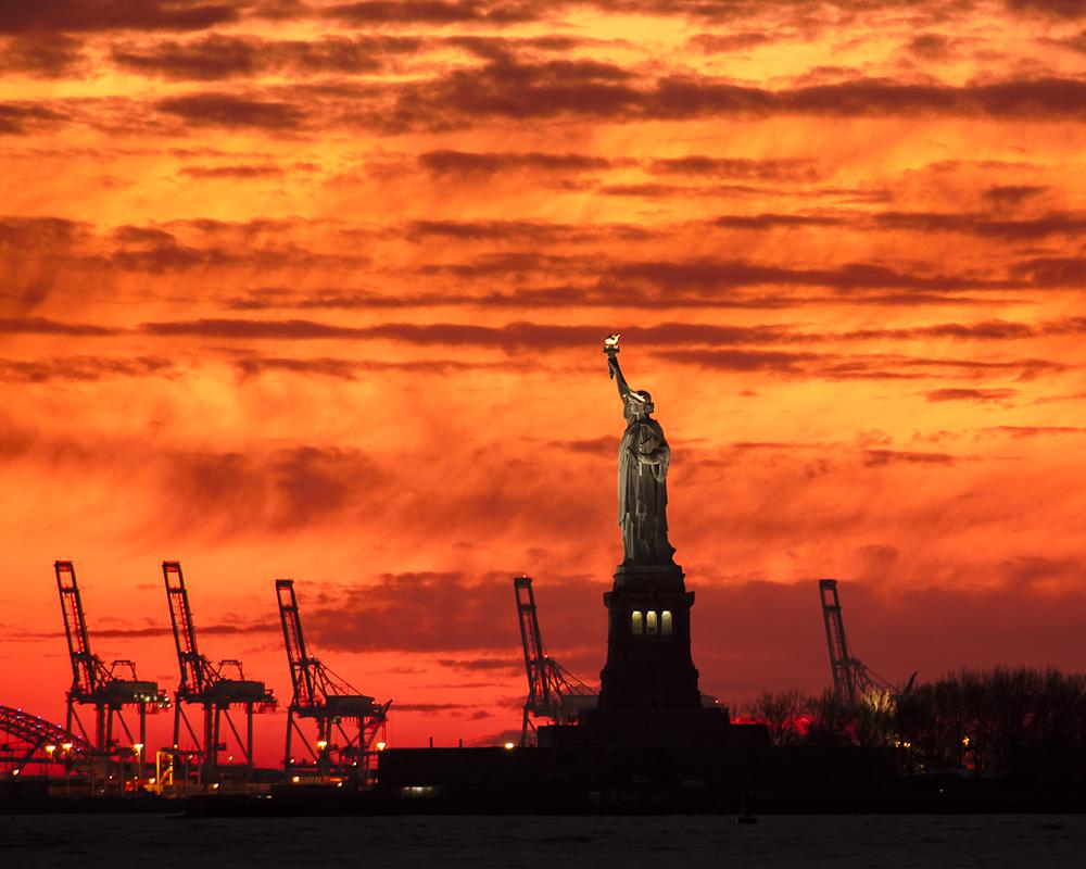 Lady Liberty, sunset, colorful sunset