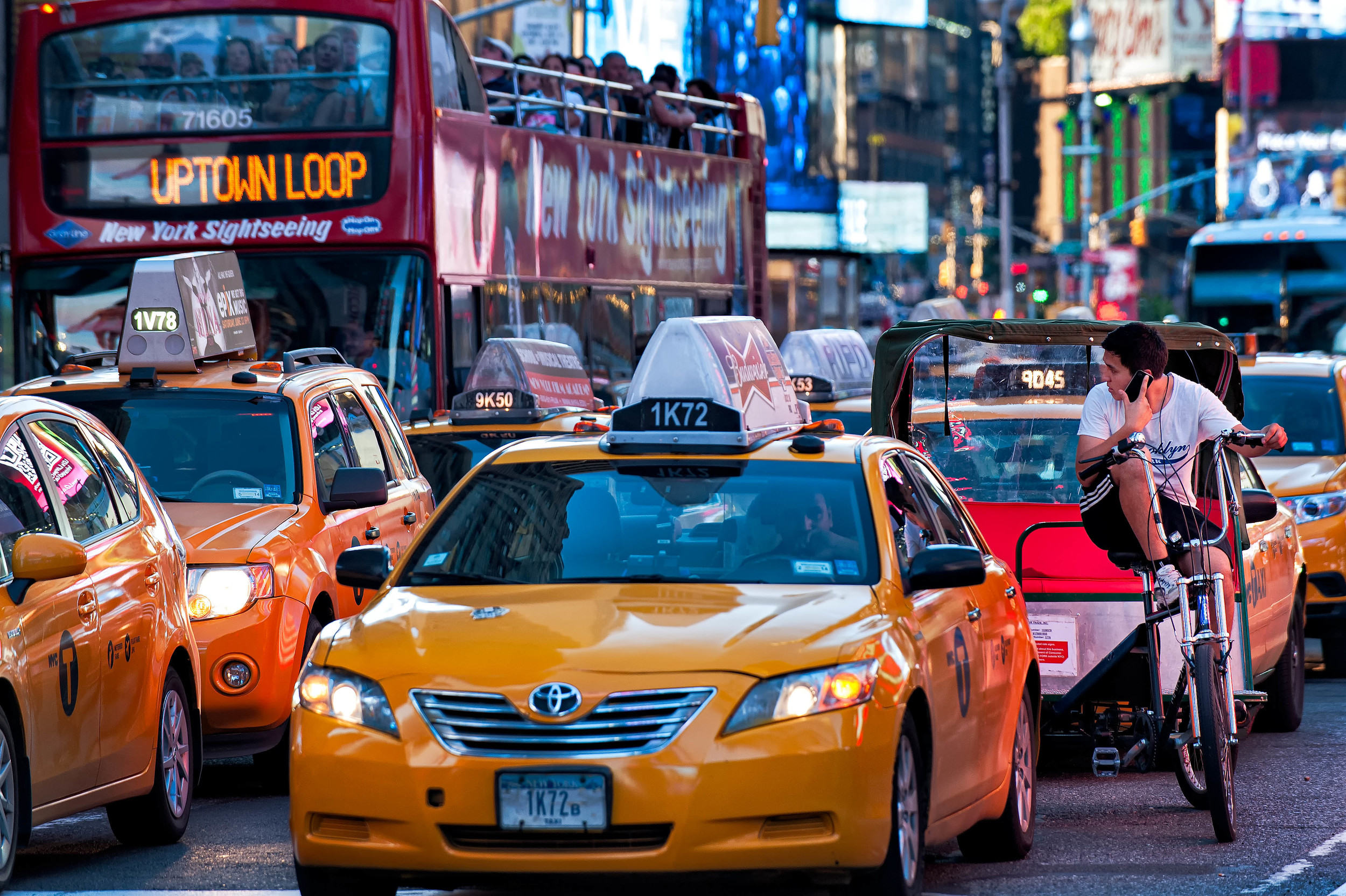 Time Square, Yellow taxi. taxicab, .