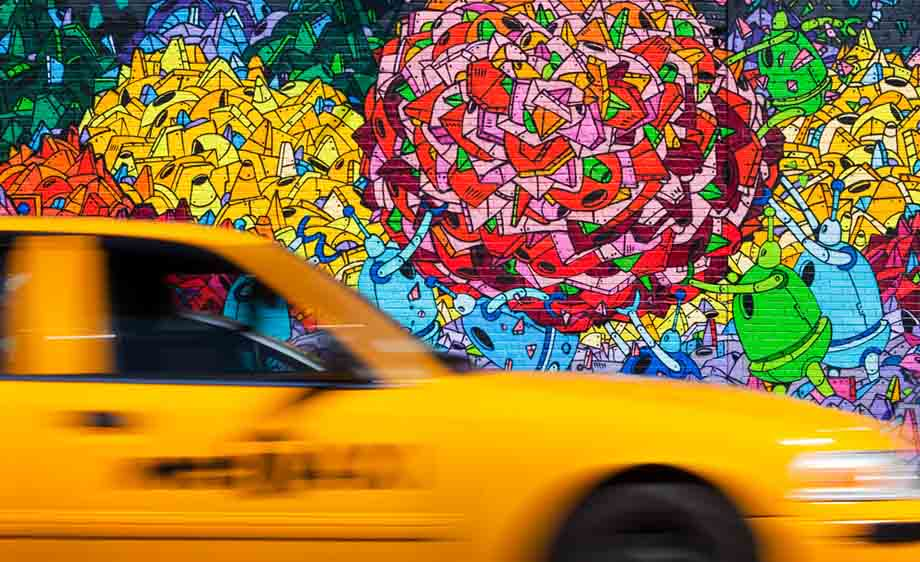 Robots & Taxi , Brooklyn, New York, 2010, by R. A. Mitchell