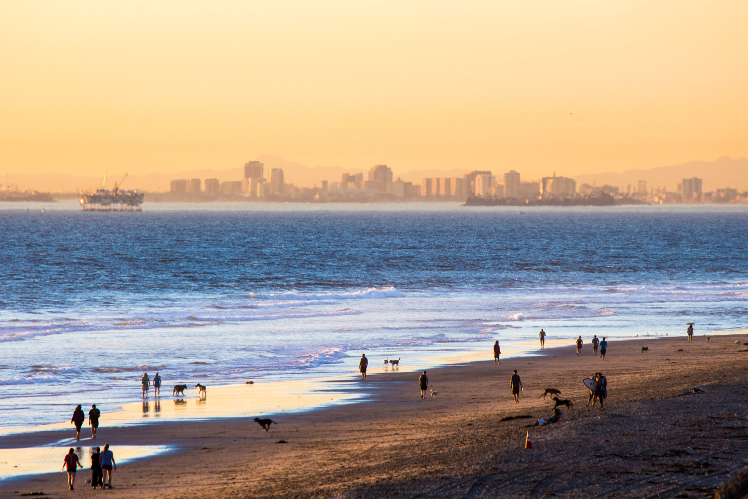 This photo taken October 20, 2016. Looking from the cliffs over the Huntington Beach Dog Beach toward Long Beach. Also included in the   Surf City, U.S.A. project on this website.
