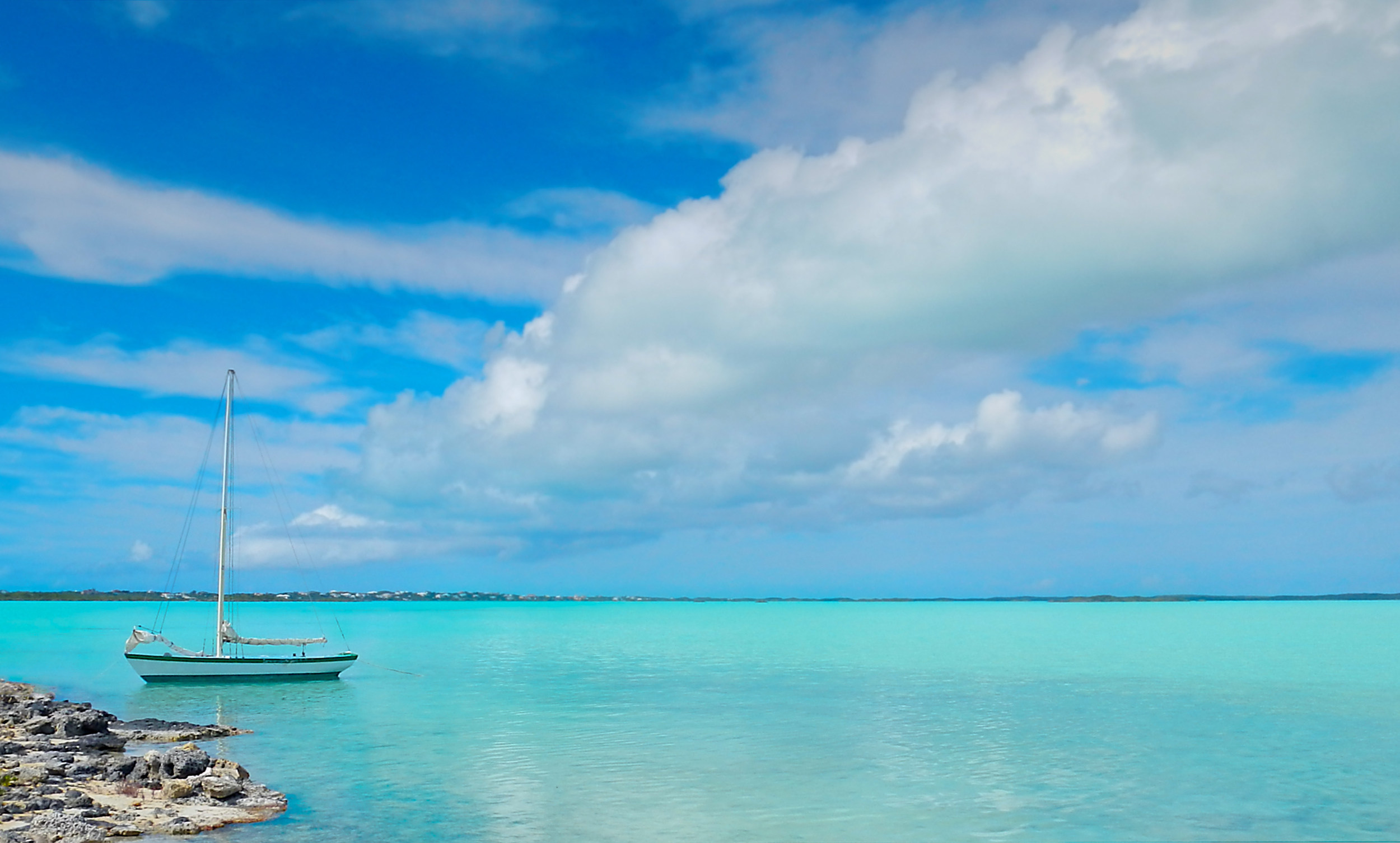 Sailboat in a peaceful harbor, Turks and Caicos