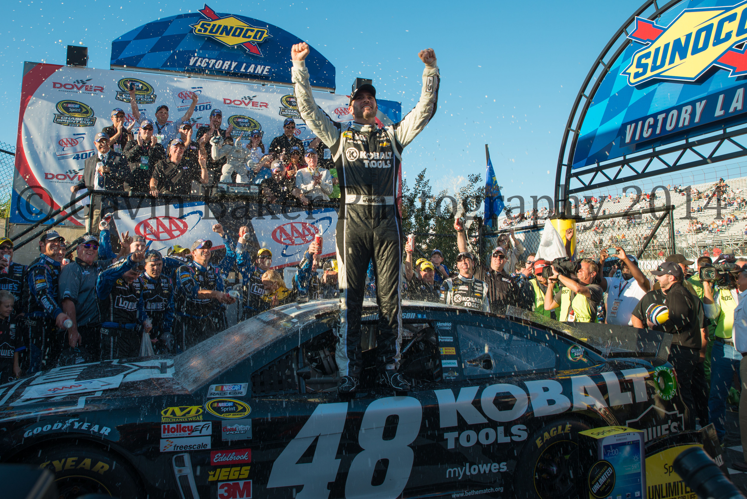 Jimmie Johnson in Victory Lane at Dover International Speedway September 2013
