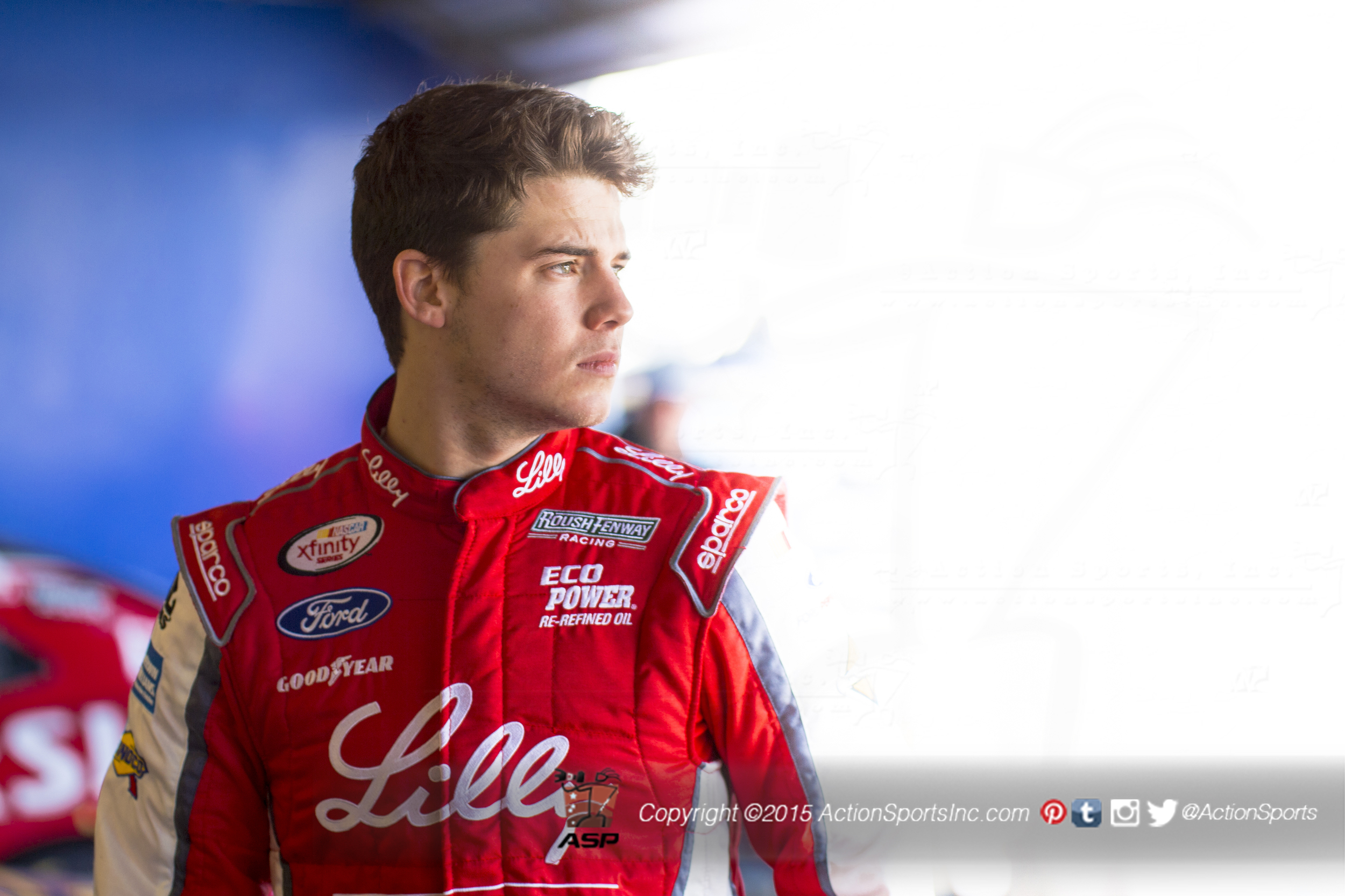 Ryan Reed driver of the #16 XfinityFord ADA Drive to Stop Diabetes presented by Lilly Diabetes prepares to test his race car