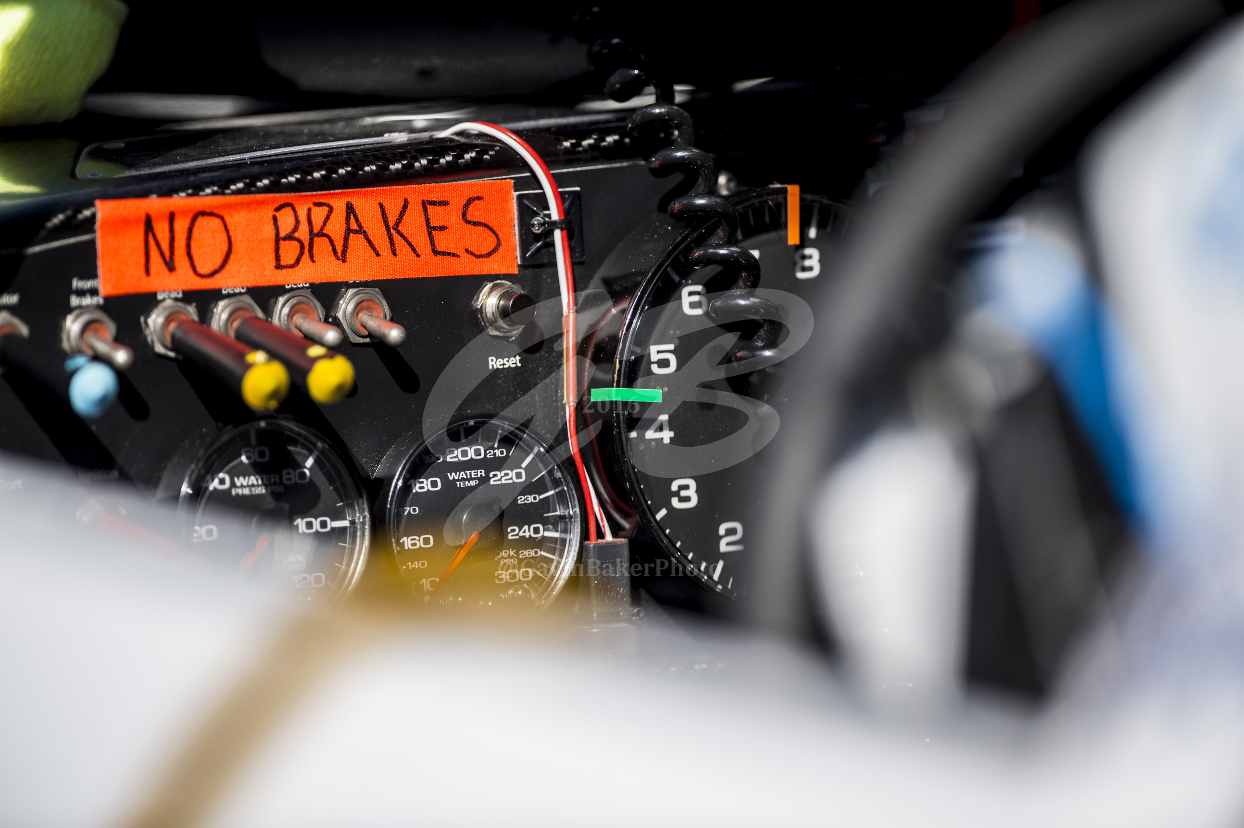 """""""NO BRAKES"""" reminds Brennan Poole, driver of the number 48 DC Solar Chevy, to drive without fear while qualifying."""
