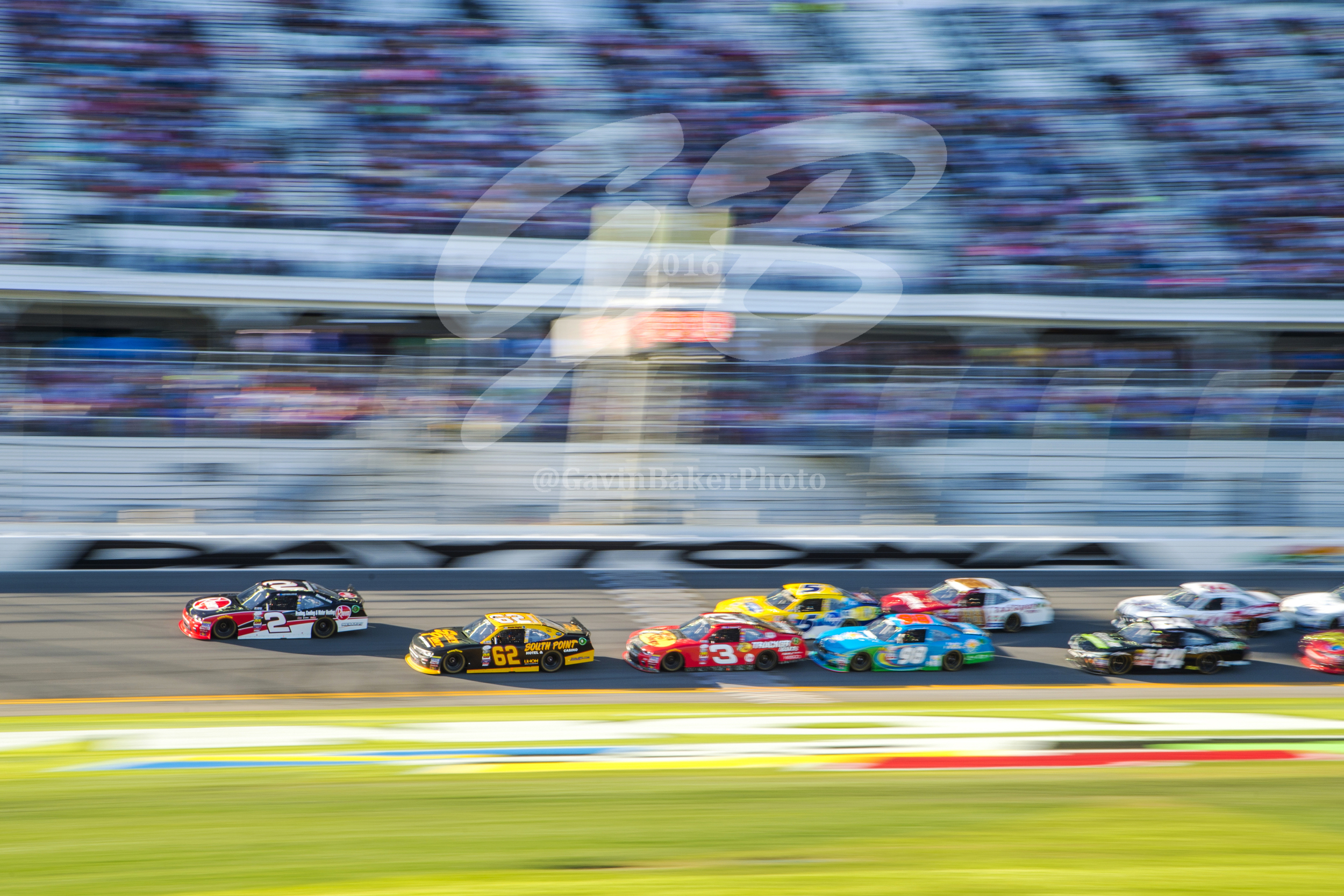 The #2 Rheem Chevy, driven by Austin Dillon,leads the pack down the front strait during the Xfinity race