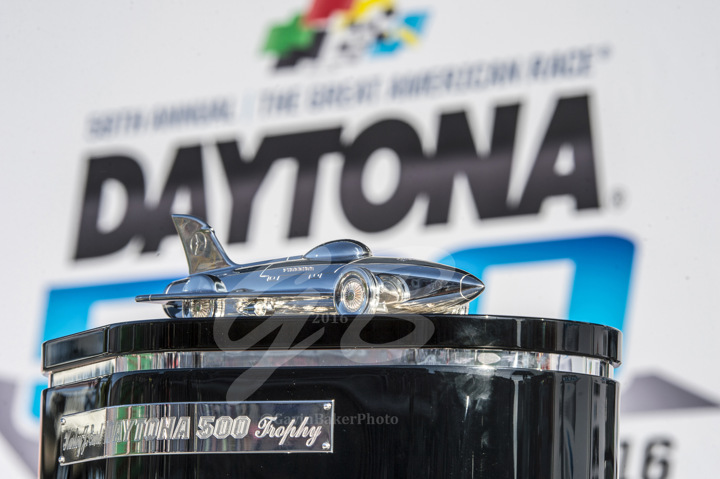 The Prize! The wining trophy for the Daytona 500 waits in Victory Lane for the best driver of the day to come and claim it.