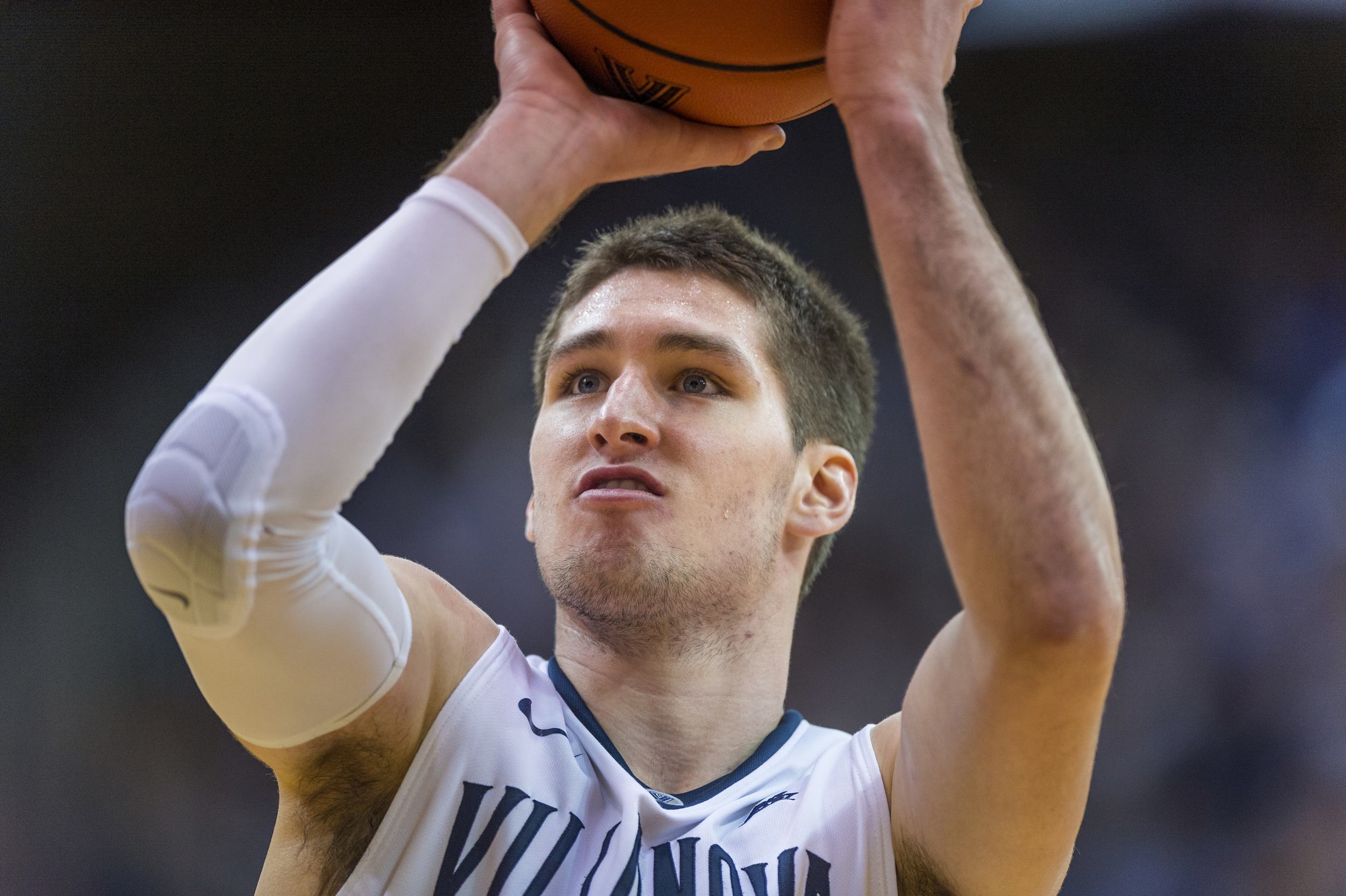 28 December 2015: Villanova Wildcats guard Ryan Arcidiacono (15) at the free throw line during the NCAA men's basketball game between the Penn Quakers and the Villanova Wildcats played at Pavillion in Villanova, PA. (Photo by Gavin Baker/Icon Sportswire)