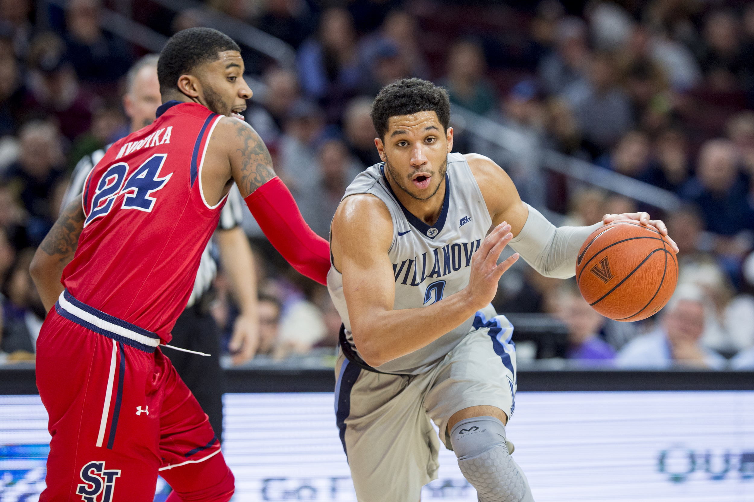 13 February 2016: Villanova Wildcats guard Josh Hart (3) charges into the lane during the NCAA basketball game between the St. John's Red Storm and the Villanova Wildcats played at the Wells Fargo Center in Philadelphia, PA. (Photo by Gavin Baker/Icon Sportswire)