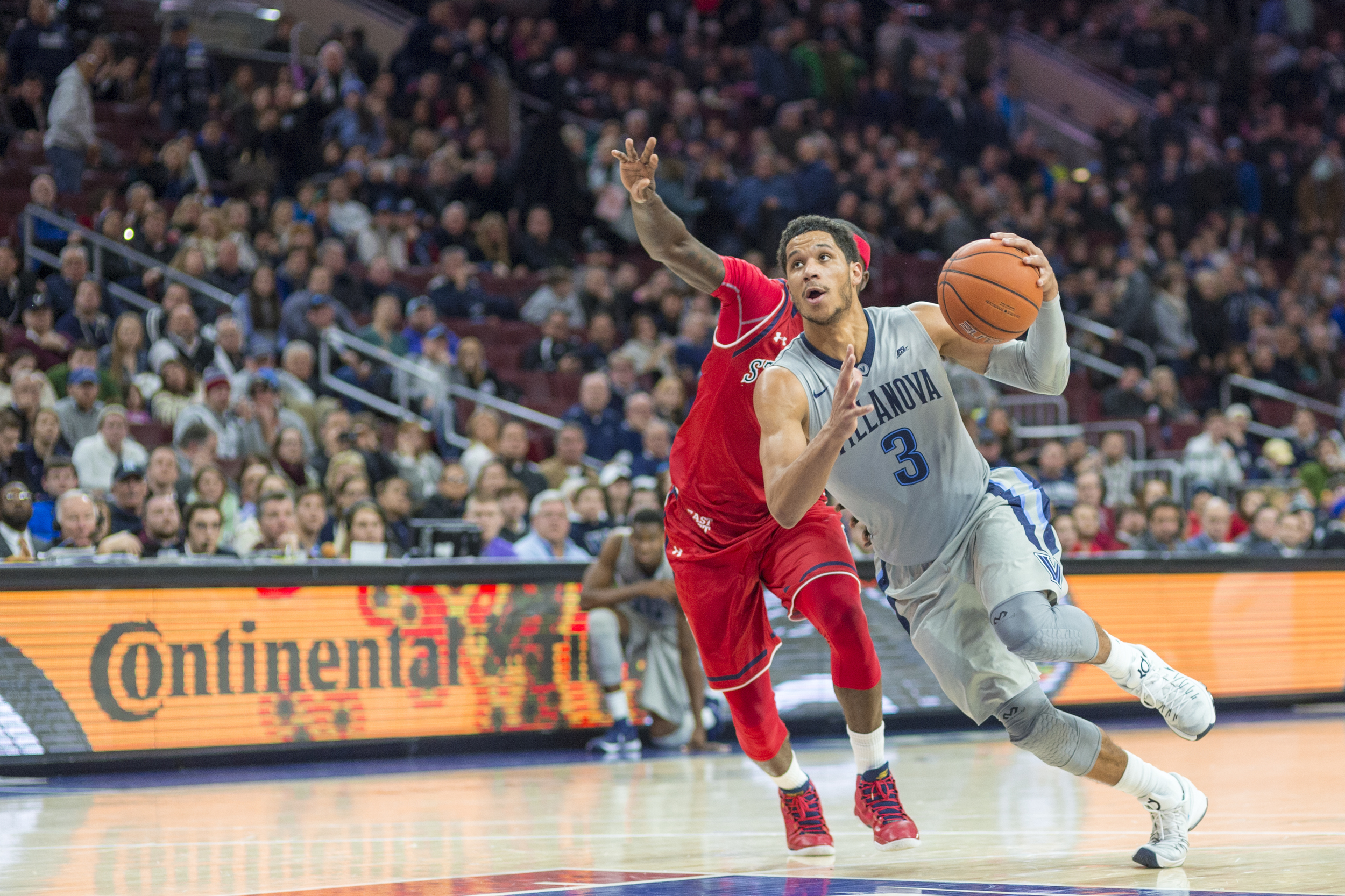 13 February 2016: Villanova Wildcats guard Josh Hart (3) in action charges into the lane during the NCAA basketball game between the St. John's Red Storm and the Villanova Wildcats played at the Wells Fargo Center in Philadelphia, PA. (Photo by Gavin Baker/Icon Sportswire)