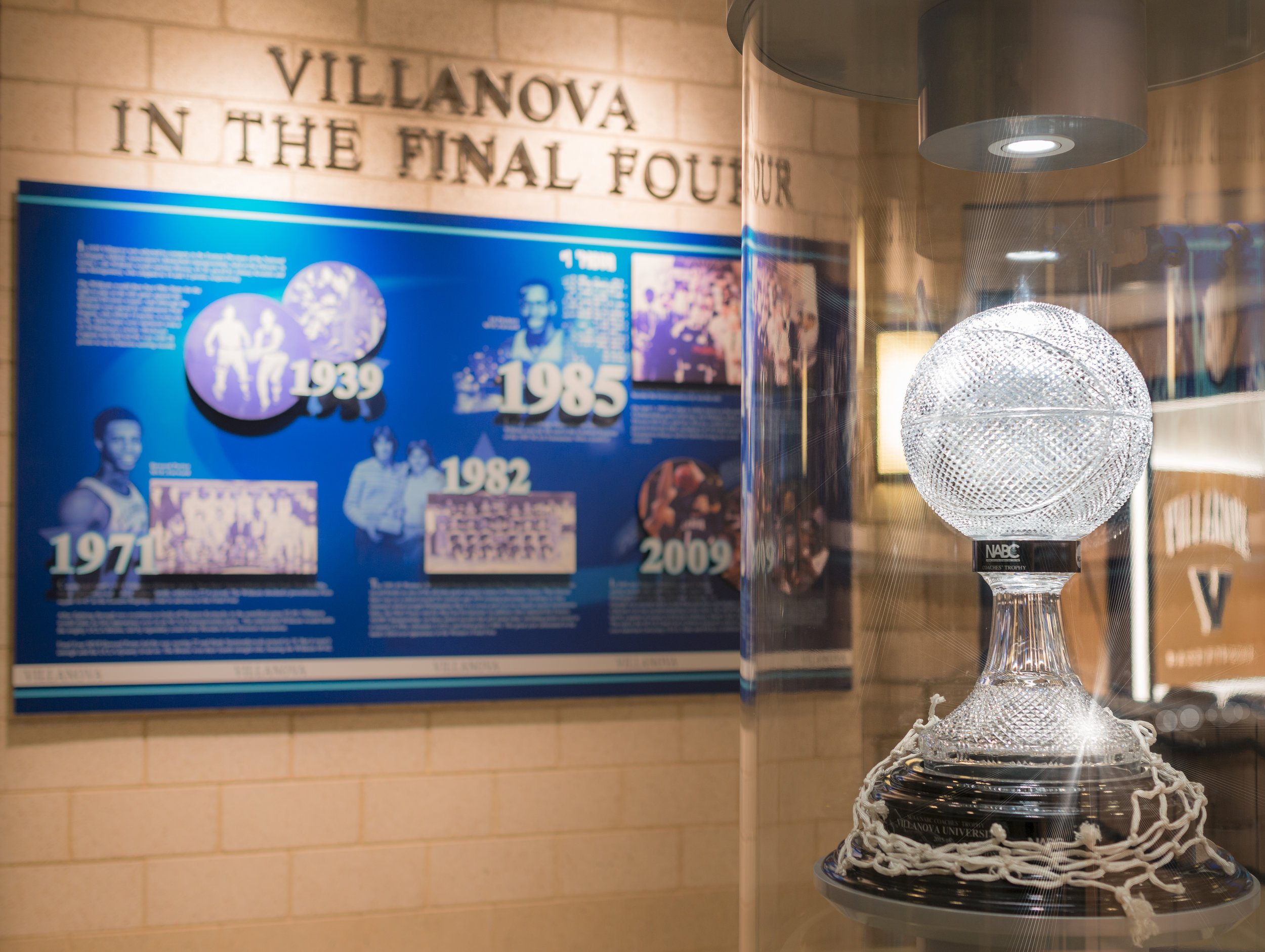 The National Association of Basketball Coaches trophy on display at Villanova University