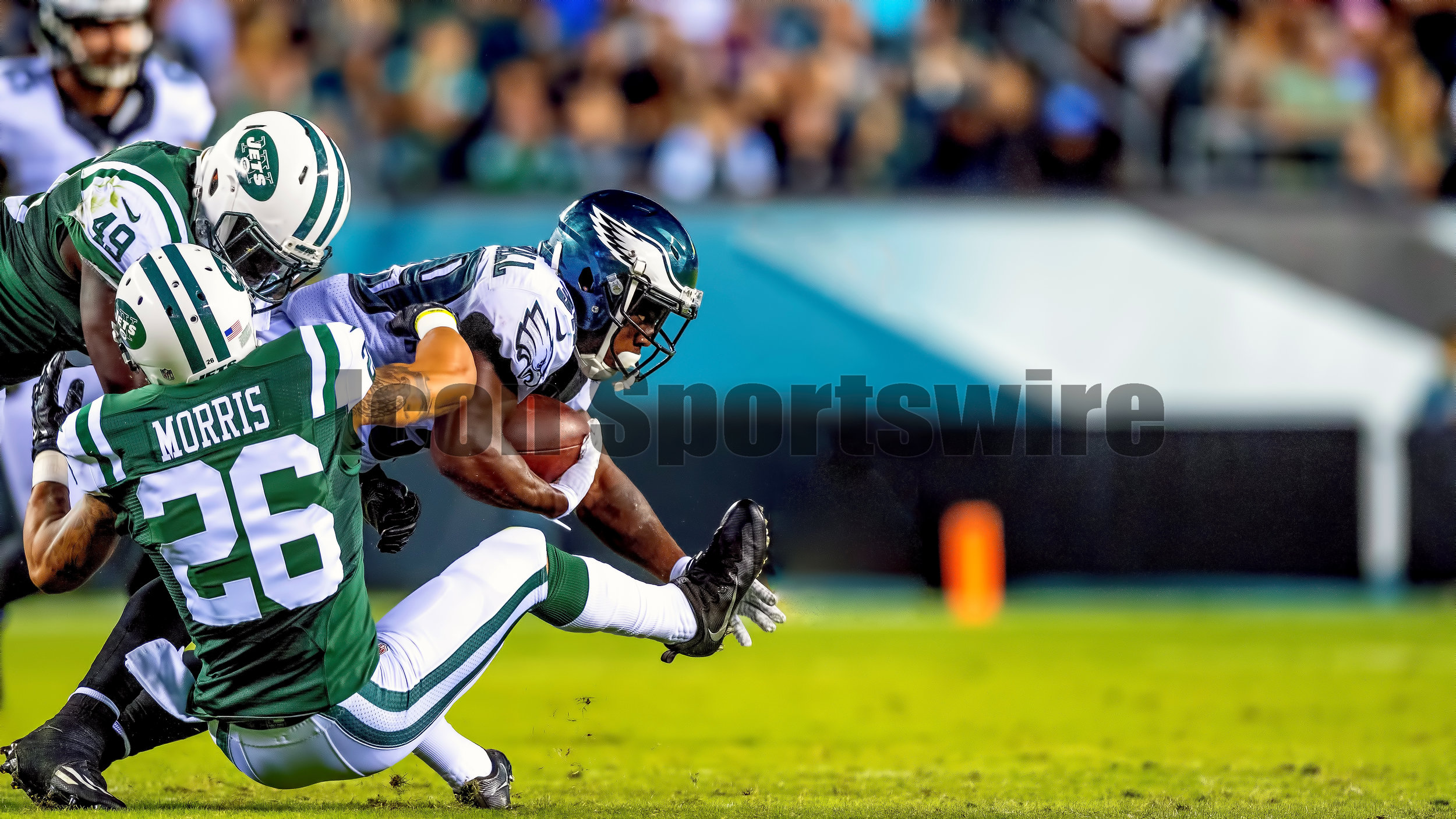 01 September 2016: Philadelphia Eagles wide receiver Byron Marshall (39) struggles for a few more yards during the Preseason National Football League game between the New York Jets and the Philadelphia Eagles played at Lincoln Financial Field in Philadelphia, PA. (Photo by Gavin Baker/Icon Sportswire)