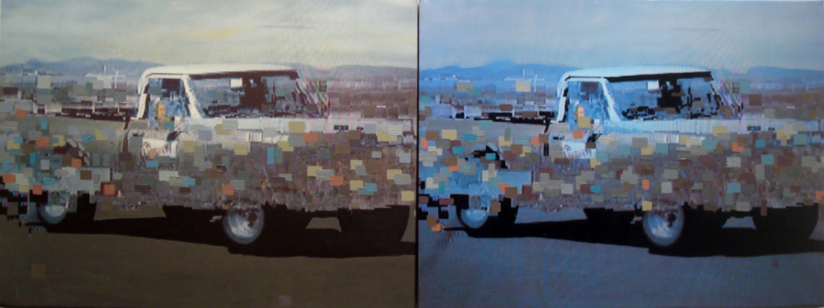 """Double White Truck"" 2014 Photo and Acrylic on Canvas 48""x18"""