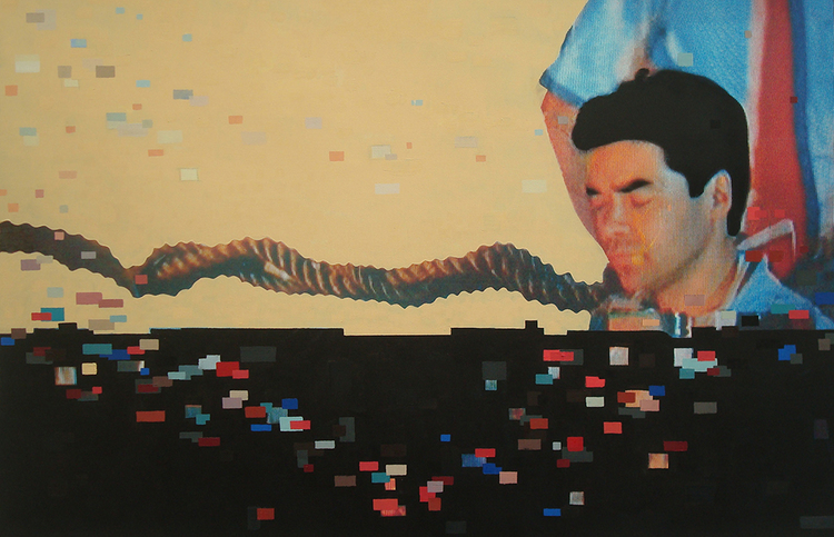 """""""Just Enough Rope"""", 2014 Photo and Acrylic on Canvas. 32""""x41"""""""
