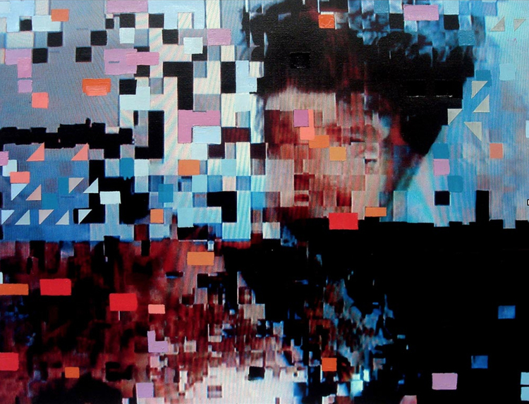 """""""Lost in Pixels"""", 2014 Photo and Acrylic on Canvas. 26""""20"""""""