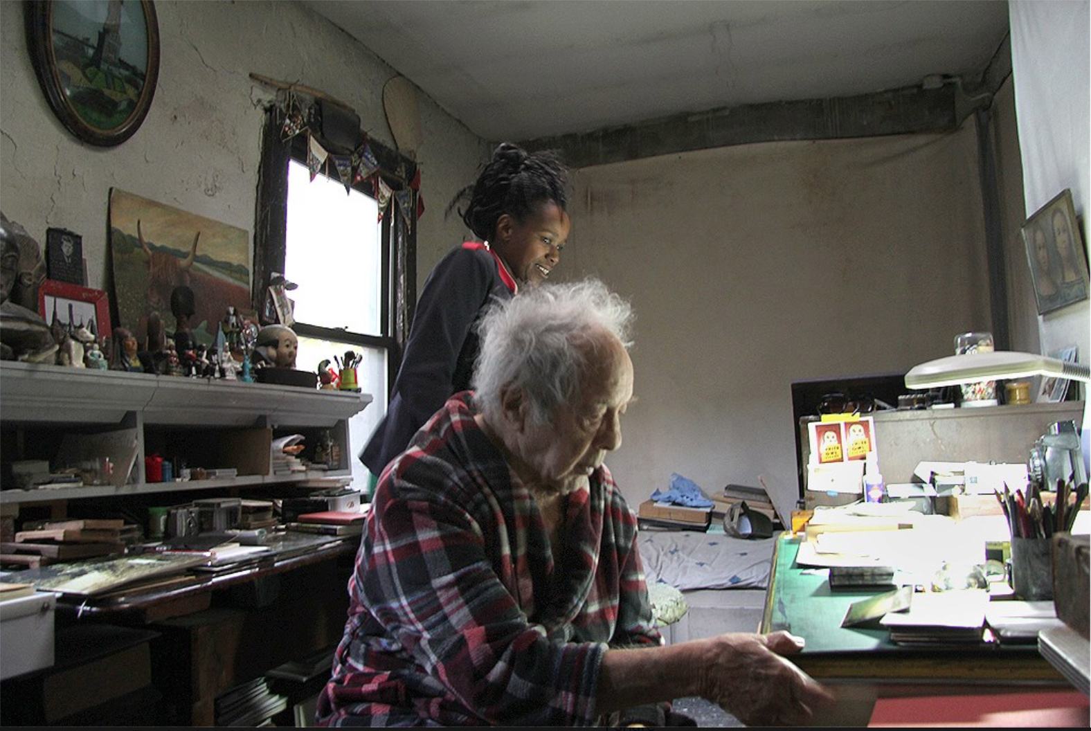 Robert Frank in his studio.   Photographed with Monika Dahlberg by Andre Smits 11.8.16