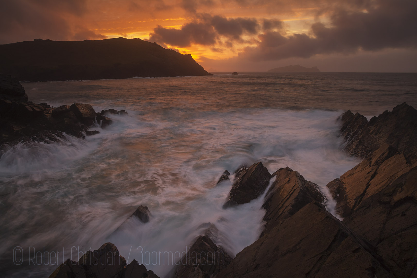 Sunset from the cliffs north of Clogher Strand.
