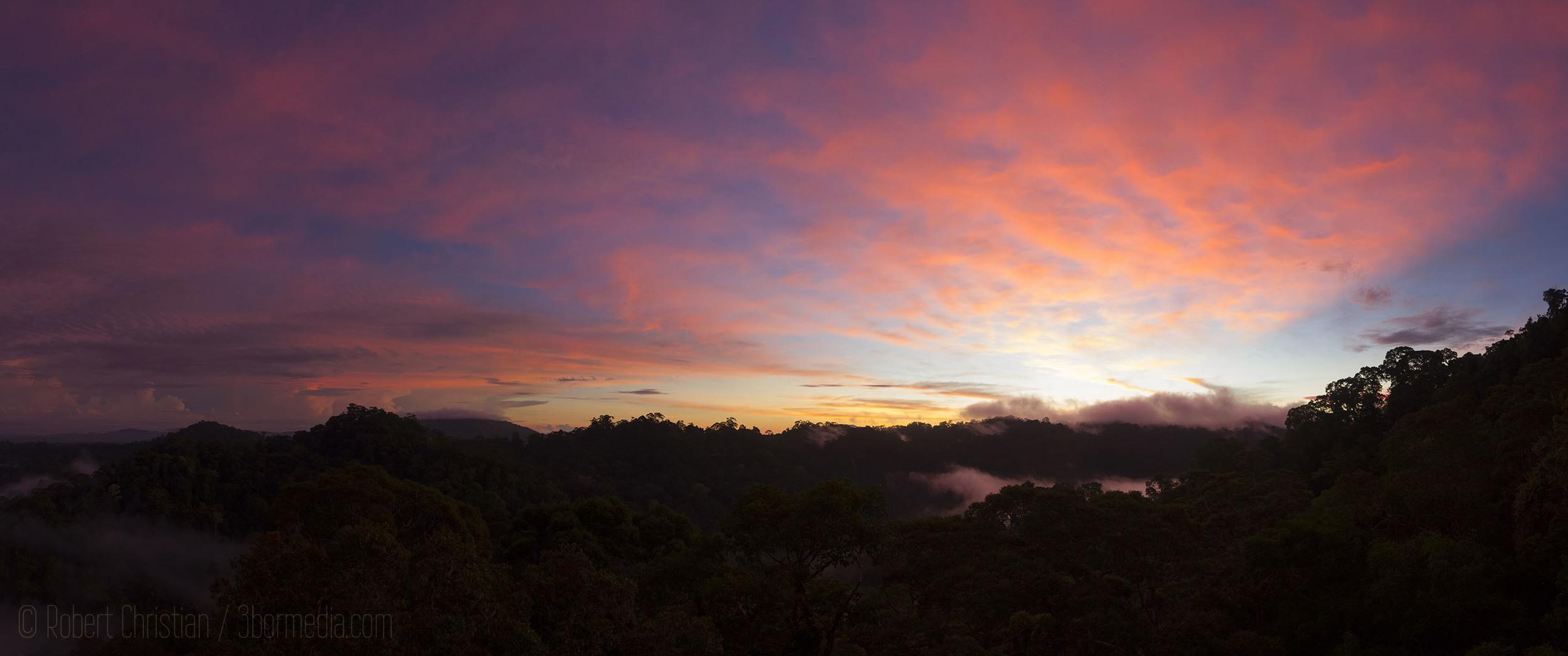 Sunrise at Ulu Temburong National Park.