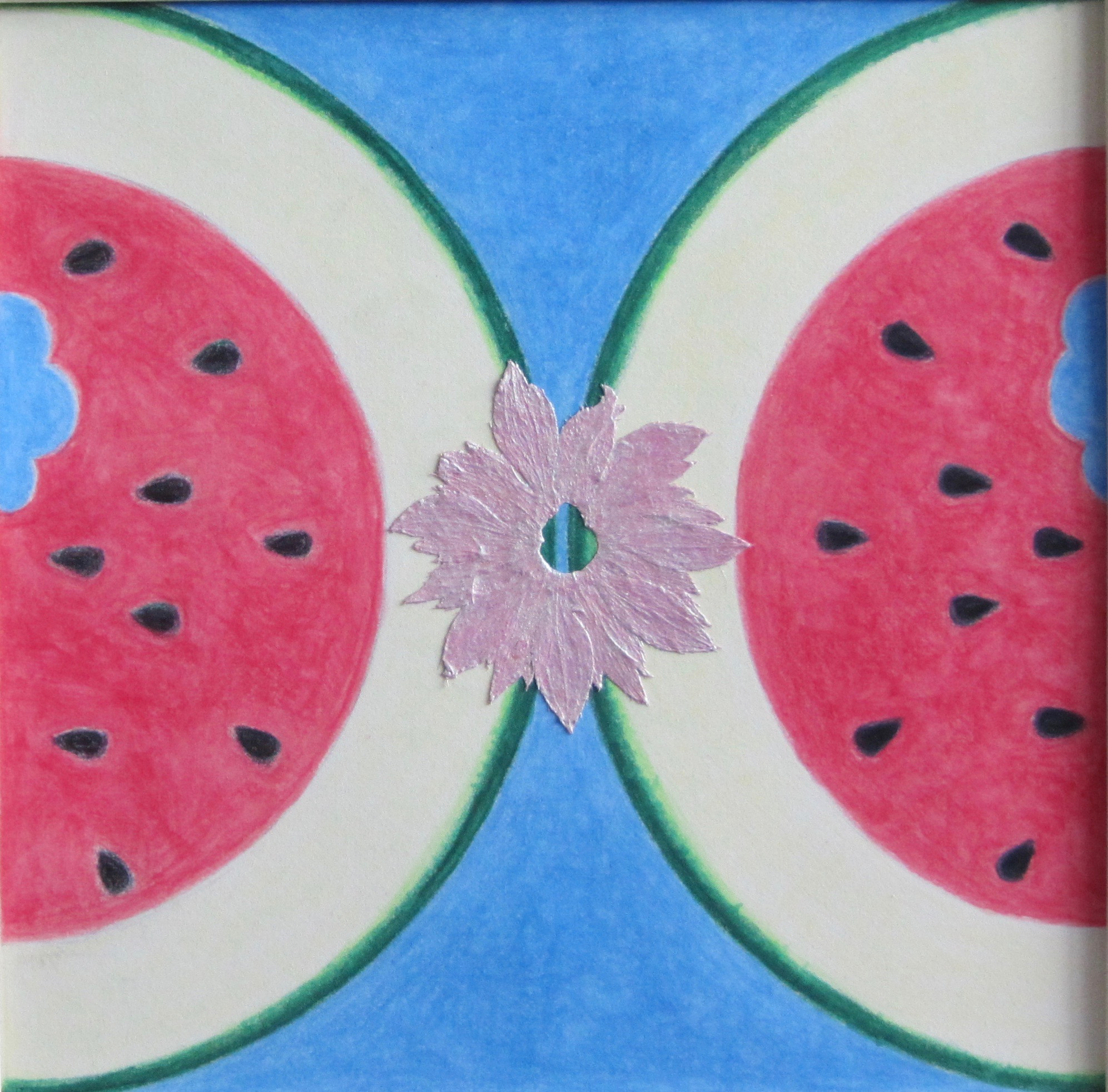 Hoosick Street The Summer Kitchen, colored pencils, strawberry sepal, acrylic interference paint     Ellen Halloran, American artist, 2018