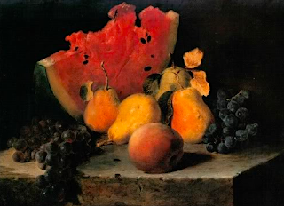 Still Life with Watermelon, Pears, and Grapes  oil on canvas, Lily Martin Spencer, American artist, 1860
