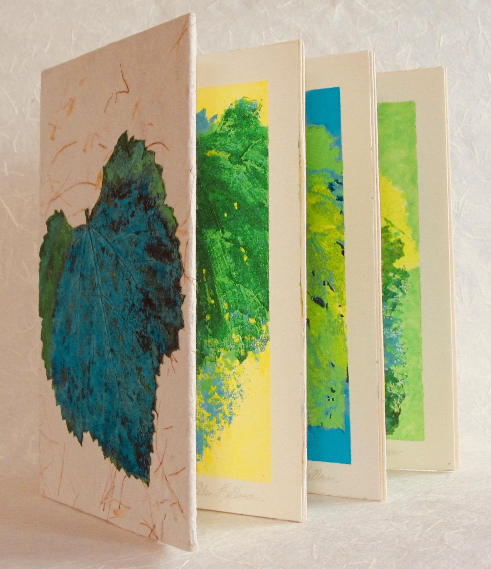 "Grape Leaves of Salt Lake City    handmade paper, bookbinder's board, bristol paper, cotton rag paper, acrylic paints  7 1/4"" X 5 1/4"" X 3/4"""