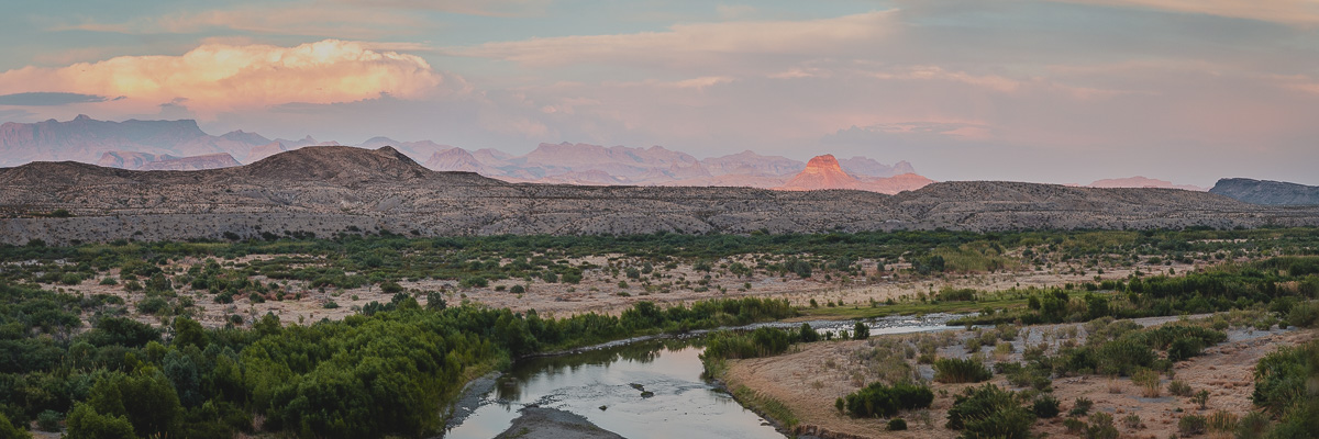 panorama of mountains and river in big bend national park