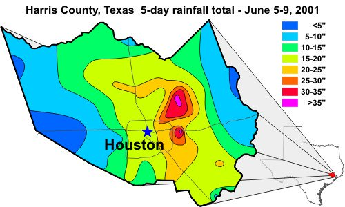 Rainfall totals from TS Allison (NOAA)
