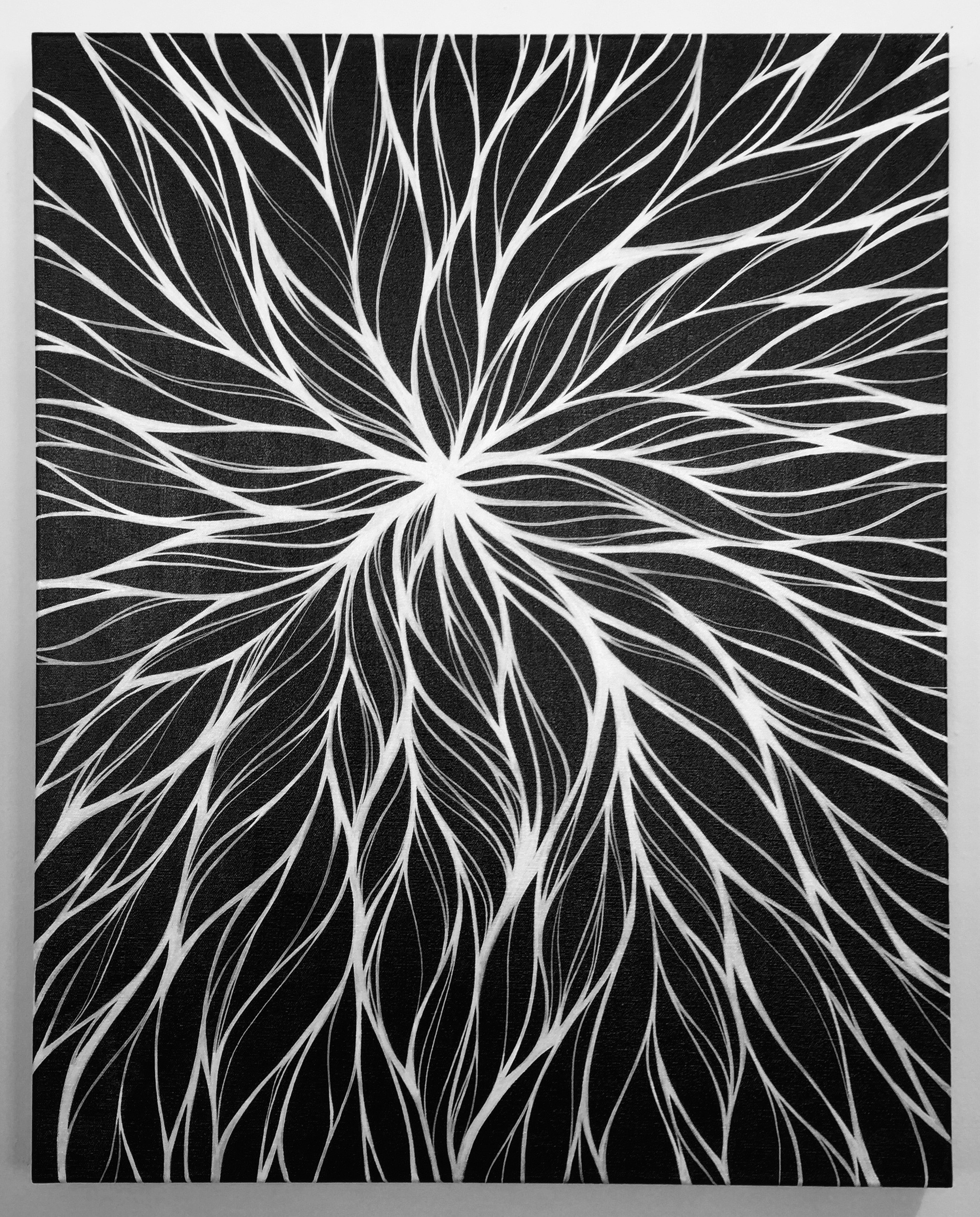 Through experimenting with inversion (white on top of a black ground) I found that the lines gained new vibrancy and an intense visual interest became focused on the emanation point.