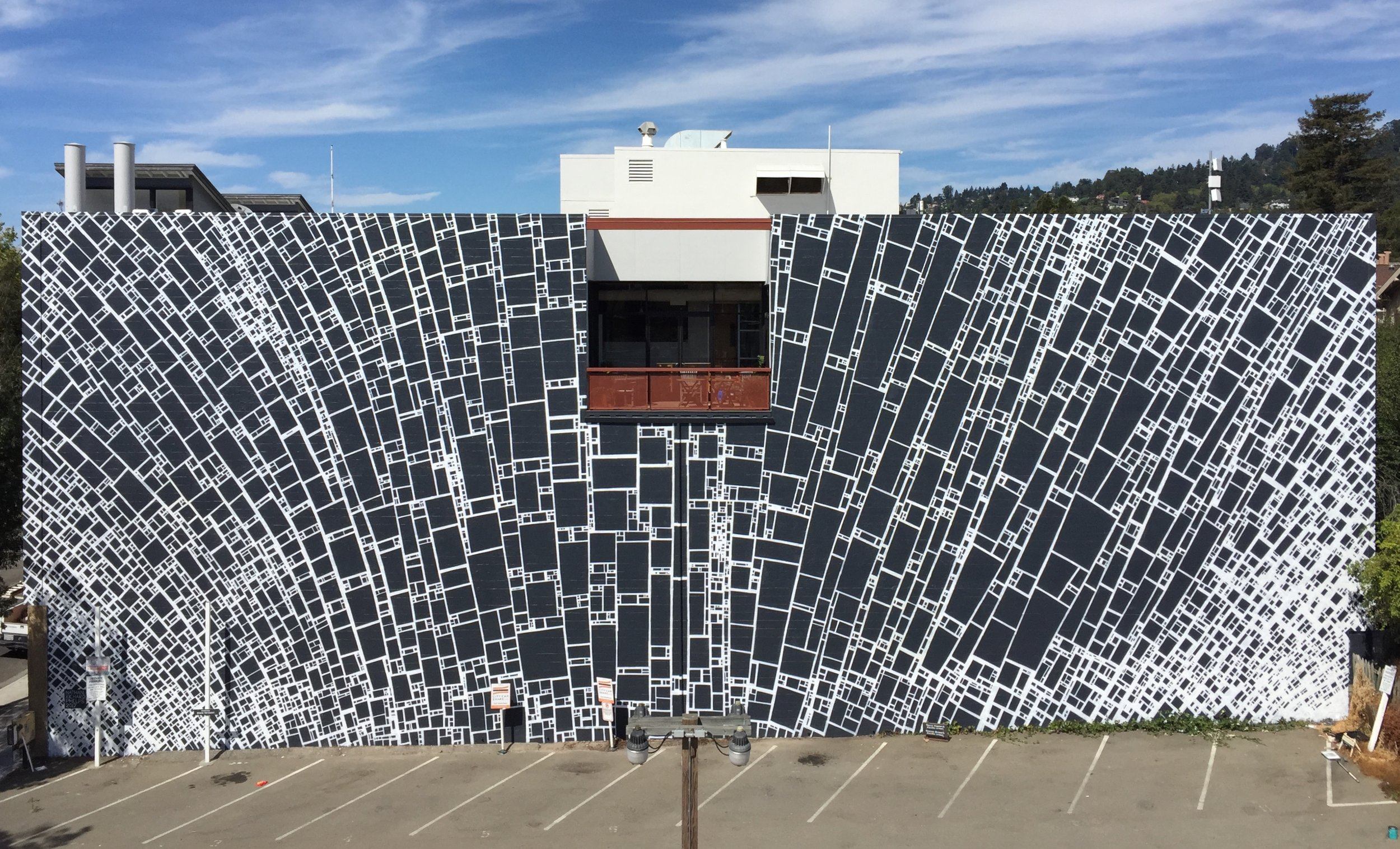 1625 Shattuck Ave. in Berkeley, California.This piece was created over 7 days for Cohen Rojas Capital Partners in late 2017. The inspiration for this project was from an idea of limiting myself to a single shape,in this case is a rectangle, then use only that one shape to create a successful composition.I've found that with extreme limitations I am forced to test myself in difficult ways, this in turn shows me new aspects of my work and my mind which become an outer display of an inner experience.