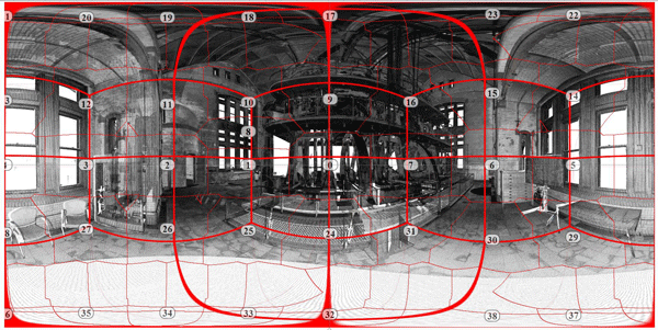 Figure #6: The assembled composite panorama depicts the station point cube shown in Figures 3 & 4, with the border region of the assembled view tiles shown in the finer red line.