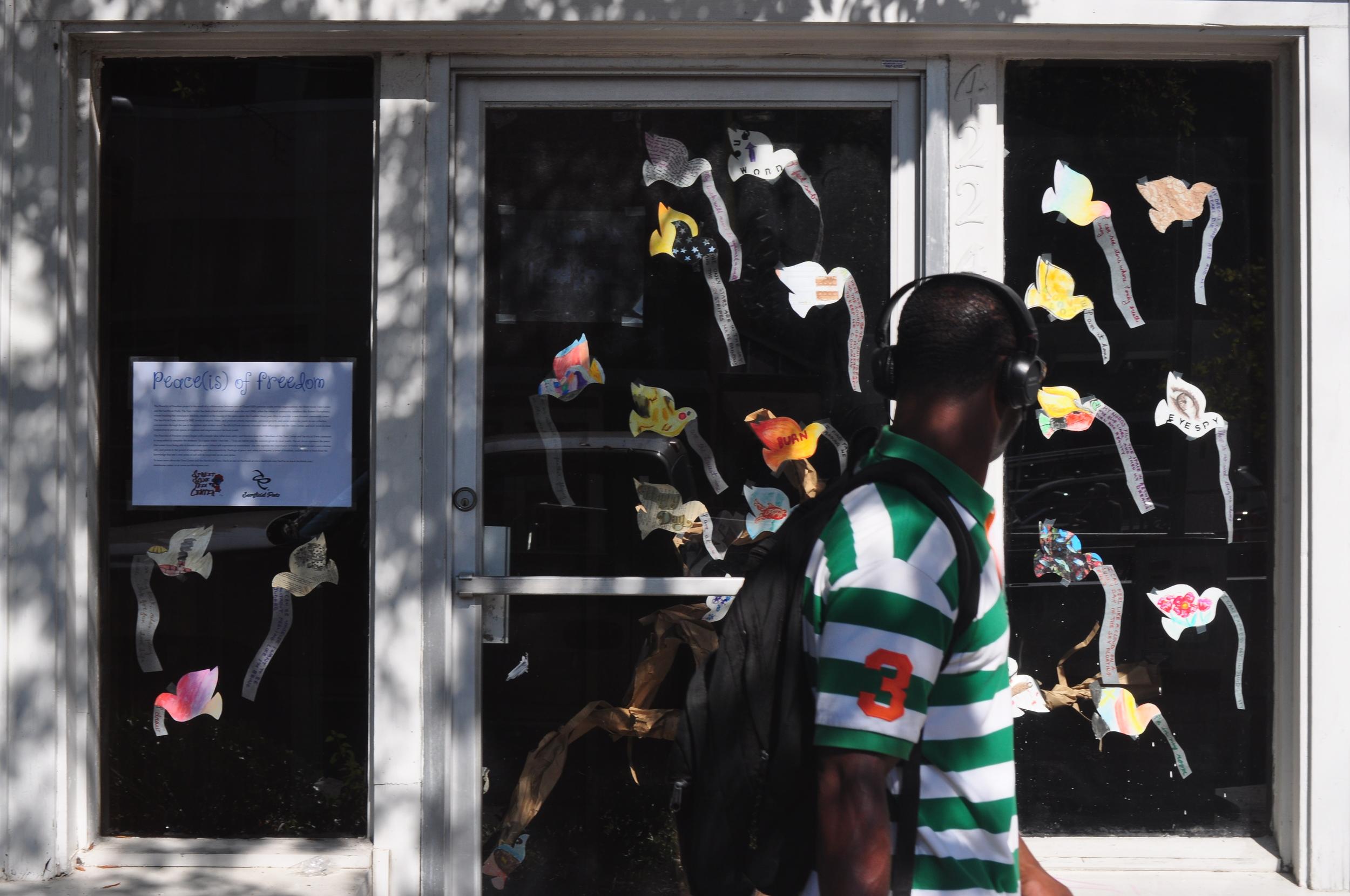 Windows on Chapel Hill create art installations