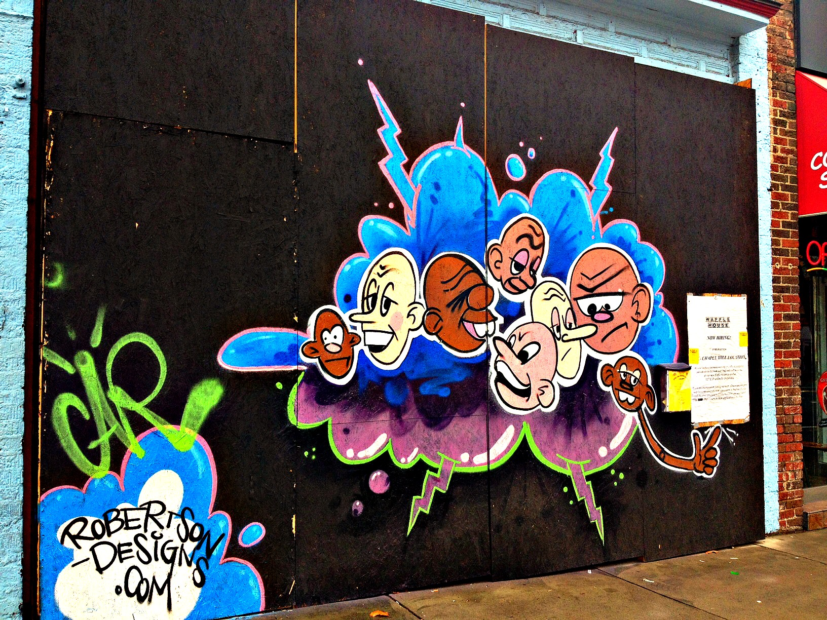 Graffiti Art Installation brightens things up before Waffle House Opens on E Franklin Street