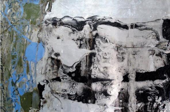 "Dixie    by Tom Spleth    Aluminum paint and enamel on canvas   32"" x 48"""