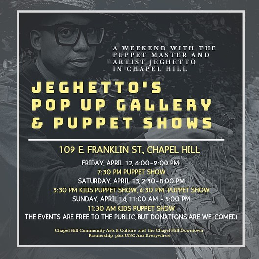 @jeghettos_puppets is doing a pop-up on East Franklin all weekend! I'm taking my kids to the puppet shows! #franklinstreet #downtownchapelhill #chapelhill #puppets #puppetshow #popup