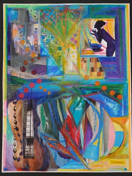 "Martin Cohen  Ladderback Beaded Bathing Beauty,2005,Mixed Media on paper,25"" x 18.5"""