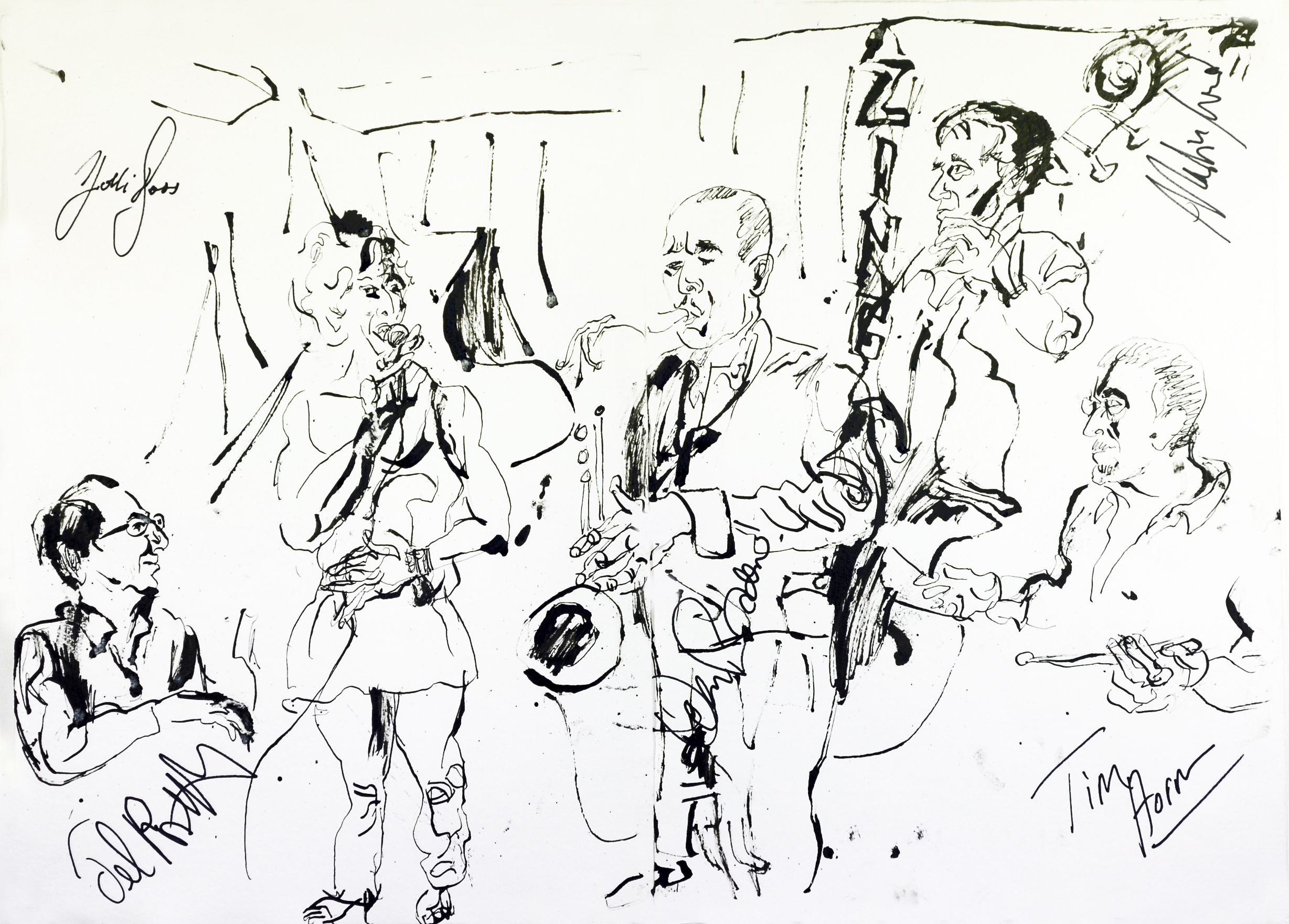 """Jonathan Glass  Holli Ross Quartet,2012,Pen and Ink on paper,16.5"""" x 23.25"""""""