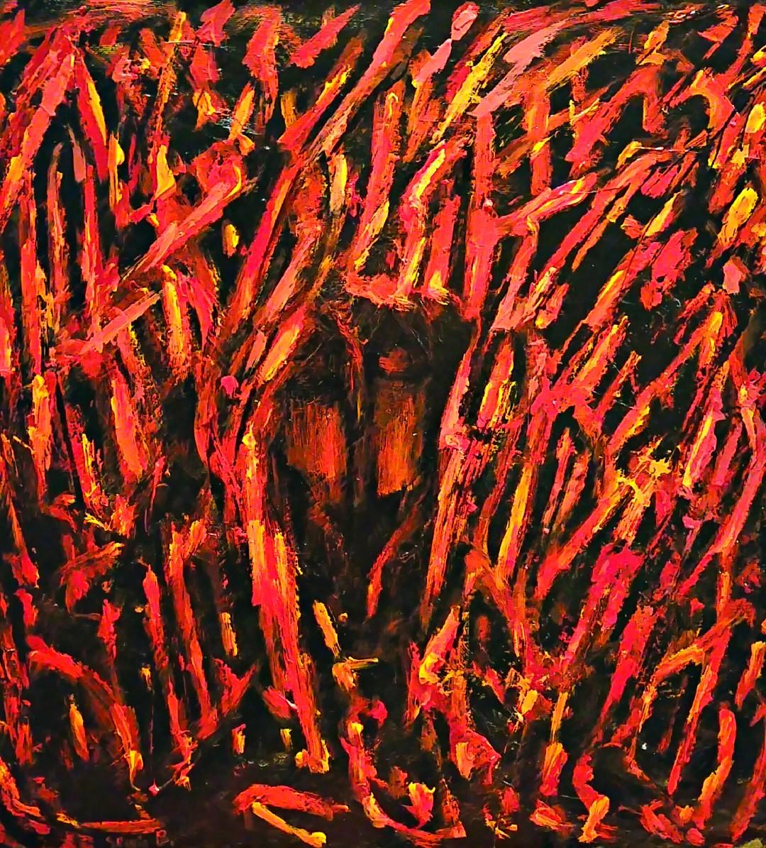 Sergio Boldrin (I), La mia città contorta (2016), mixed media on canvas, cm 50x50.jpg