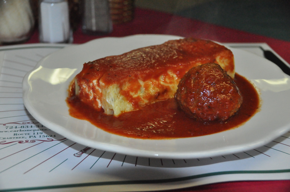 Meatless Lasagna served with a Meatball