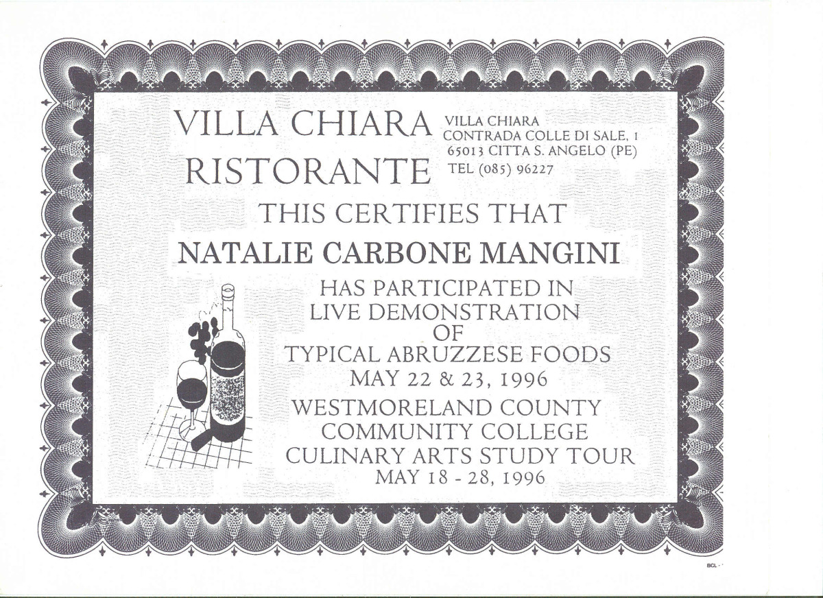 certificate from 1996 culinary arts tour of italy.jpg