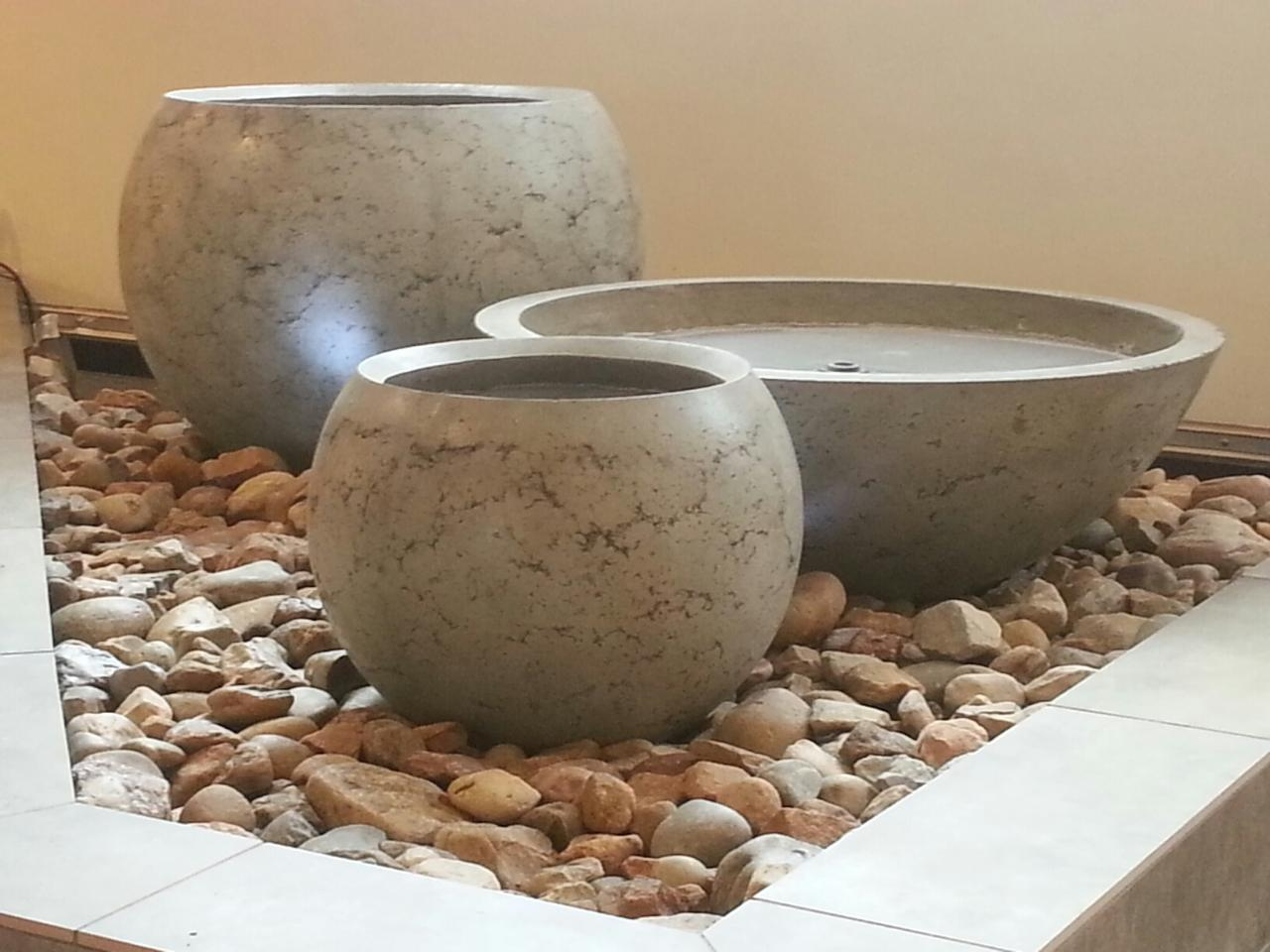 water fountain design using zen bowl and planters