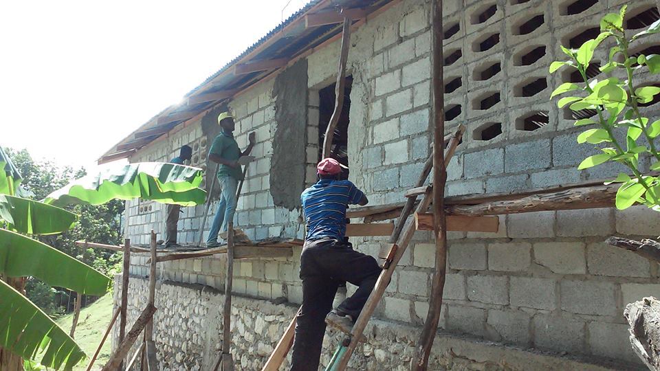 A during picture showing the progress of the church. At this point, much work has already been completed.